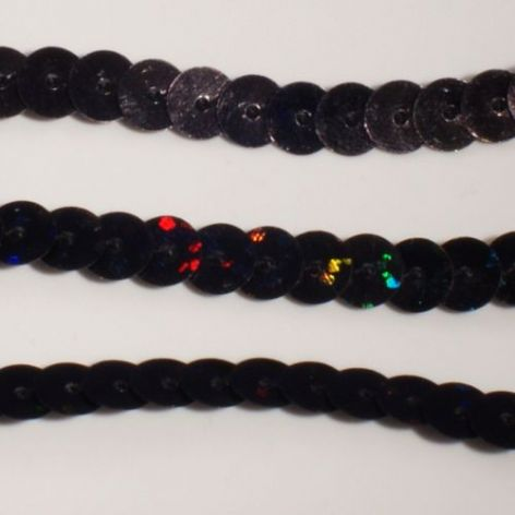 DISCONTINUED  6mm Strung Sequins. Hologram Black x 5 metres